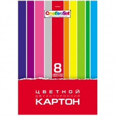 "Картон цветной двусторонний A4, Hatber ""Creative Set"", 8 листов, 8 цветов, в папке, 8Кц4_05934"